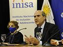 Representante de UNICEF en Uruguay, Luz Angela Melo junto al presidente del INAU, Pablo Abdala
