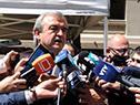 Ministro del Interior, Jorge Larrañaga, dialoga con la prensa