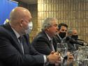 Ministro Luis Alberto Heber y autoridades del Ministerio de Transporte y Obras Públicas