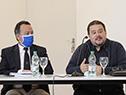 Director del Sistema Nacional de Emergencias, Sergio Rico, y coordinador del Cecoed, Leonardo Herou