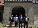 Embajador Alberto Iribarne, presidente de Uruguay, Luis Lacalle Pou, presidente argentino, Alberto Fernández, y Francisco Bustillo, canciller uruguayo