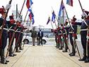 Llegada del presidente, Luis Lacalle Pou, a la asunción del jefe del Estado Mayor de la Defensa, Gustavo Fajardo