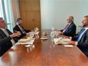 Almuerzo entre los presidentes Luis Lacalle Pou y Jair Bolsonaro acompañados por los cancilleres Francisco Bustillo y Ernesto Araújo
