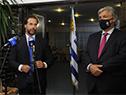 Conferencia de prensa del presidente Lacalle Pou, acompañado del canciller Francisco Bustillo