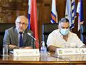Ministro Pablo da Silveira junto al Intendente de Durazno, Carmelo Vidalín