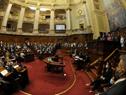 Presidente Luis Lacalle Pou, realizando su discurso ante la Asamblea General