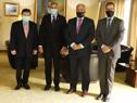 Canciller Francisco Bustillo y presidente de Paraguay, Mario Abdo, junto a autoridades diplomáticas
