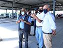 Milton Machado, Javier García y Omar Lafluf en paso de frontera de Fray Bentos