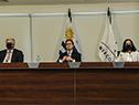 Francisco Bustillo, Luis Lacalle Pou y Azucena Arbeleche en cumbre 30.° aniversario de Mercosur