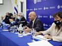 Autoridades de DGI y BPS durante la conferencia de prensa