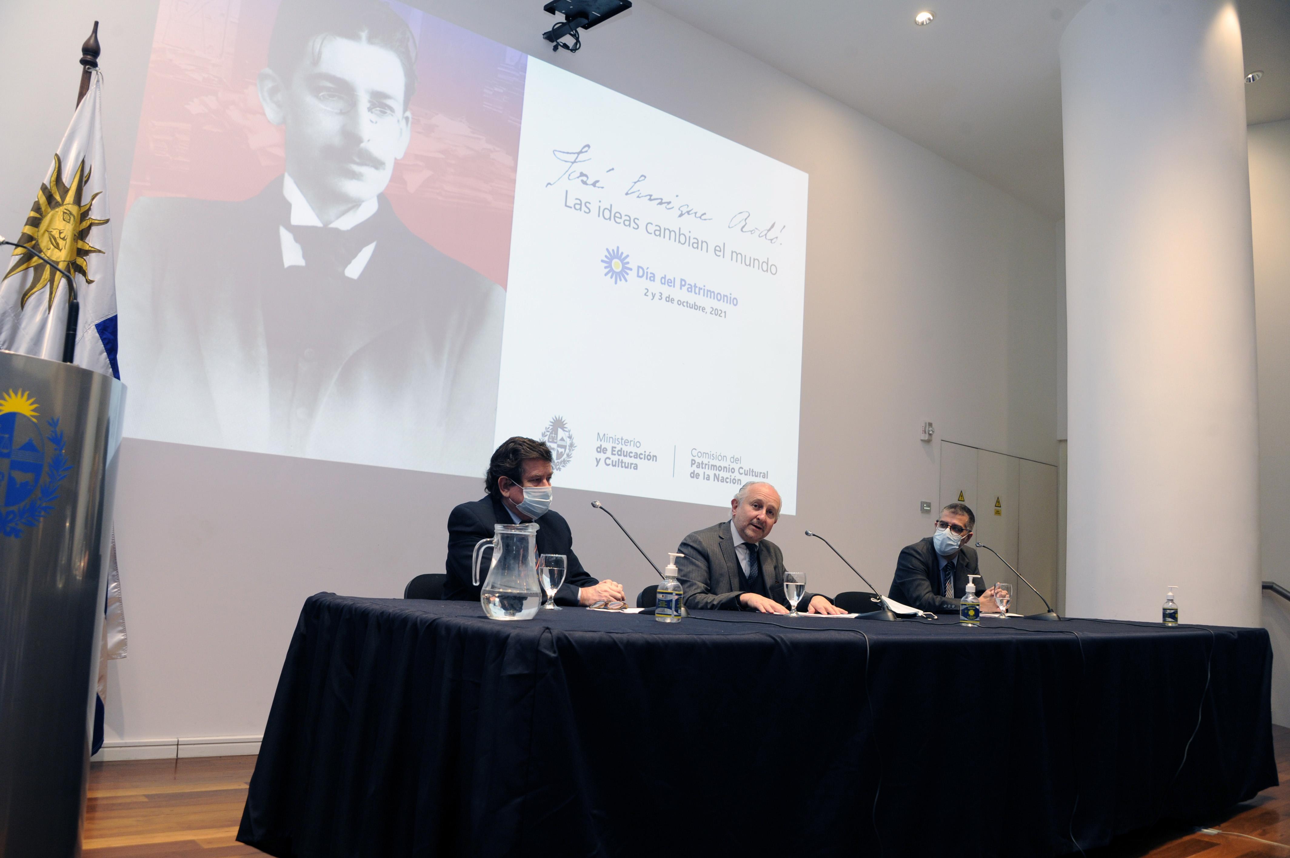 William Rey, Pablo da Silveira y Valentin Trujillo, en presentación del Día del Patrimonio 2021